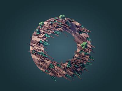 Orkan 3d c4d lowpoly render illustration tree o terrain landscape letter cinema 4d low poly