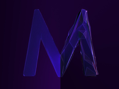 M (Irradiance Cache) low poly cinema 4d letter m prepass irradiance cache illustration render lowpoly c4d 3d