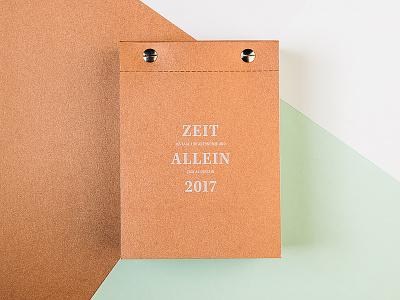 Zeit Allein (Time Alone) minimal typography copper paper calendar print