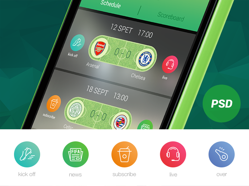 Football app football icon psd free live whistle news earphone cup grass shoes