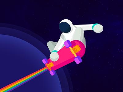 Space Boarding   Full Astronaut astronaut skateboard space illustration