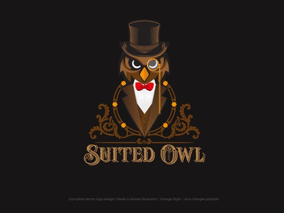 Suited Owl Brand Logo Concept