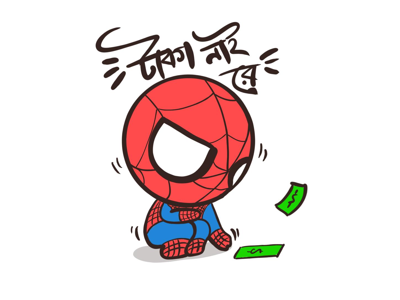 Spooderman No Money illustration character mascot minimalist branding vector icon flat design logo