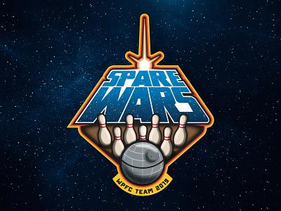 Spare Wars vintage sports space death star branding logo bowling