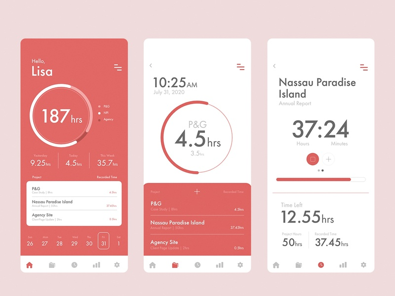 Time Tracker behance mobileapp app andreaeppy adobexdchallenge challenge project clock timetracker tracker web mobile appdesign design uidesign ui xd adobexd adobe time