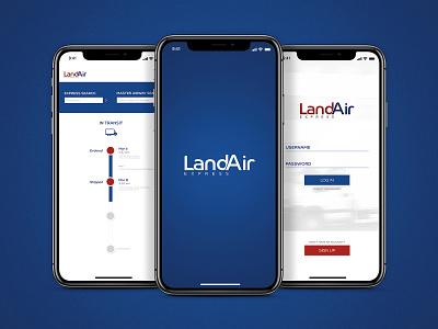 LandAir Express challenge transit tracking iphone design uidesign ui xd adobexd adobe app packages shipping air land express landair