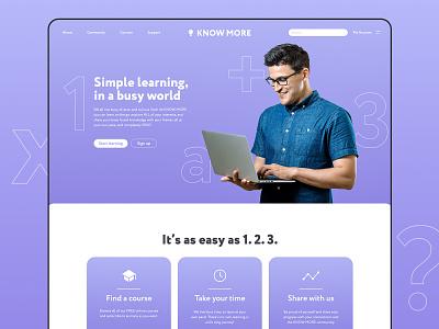 Know More design website knowledge know onlinelearning xd adobexd behance challenge behancechallenge adobe learning app site ux uxdesign uidesign ui online school