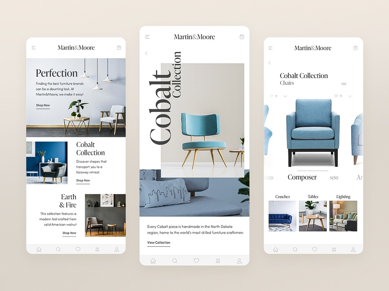 Martin&Moore decorate home shopping site web xd design cobalt ux ui uidesign app ui ecommerce store furniture store chairs furniture adobexd adobe app