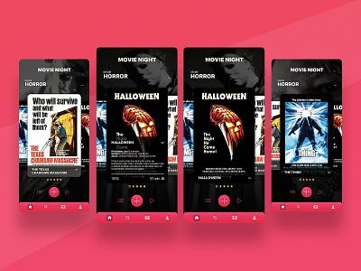 Movie Night uxdesign ux iphone spooky video horror thing texas halloween app uidesign ui adobexd adobe xd apps films movies film movie