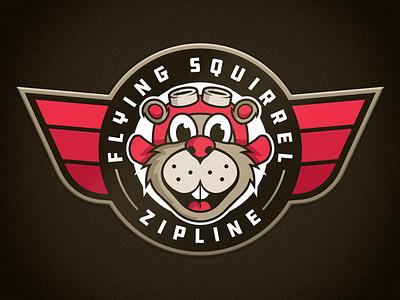 Flying Squirrel Zipline pilot wings badge zip line logo illustration squirrel