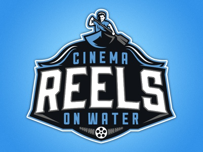 Cinema Reels On Water movies oar paddle blue sports reels cinema canoe logo