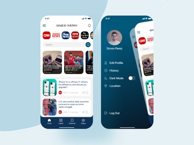 News application newspaper news application ux ui design concept app