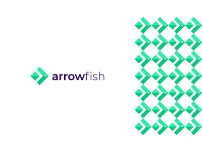 Arrow Fish Modern Logo Design sea colorful unique creative finance tech letter mark negativespace modern dynamic company logo design arrow fish business minimal logo graphic design design branding