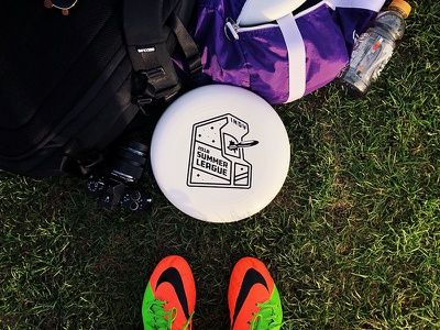 Ultimate Frisbee Summer League Logo - Game Disc branding logo sporting sports cleats vintage 80s arcade disc ultimate frisbee