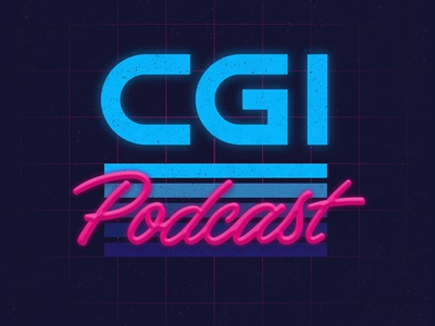 CGI Podcast  logo neon 80s retro