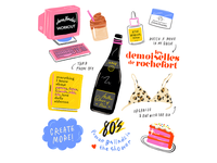 friday plans wine old movies fluffy coffee quarantine baking music 80s beauty product beauty icons background art lettering design melissa chaib illustration