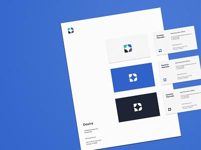 Destra branding collateral business card stocks investing star logomark letterhead blue mark icon geometric logo branding