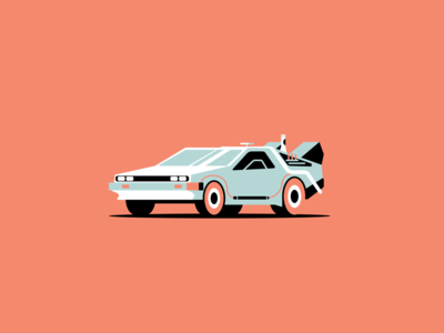Back to the Computer product product illustration time travel design movie blue flat simple delorean car vector geometric illustration