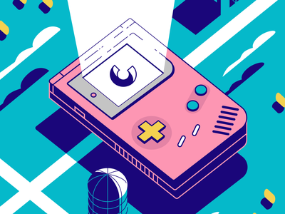 Clade product illustration silo barn hay pink fun blue simple illustration clade vintage retro clouds farm figmadesign figma gameboy videogame vector geometric illustration
