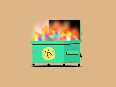 2020 spraypaint blur flat illustration product illustration 2020 trends simple flat design rat sad face fire dumpster fire 2020 figma geometric illustration