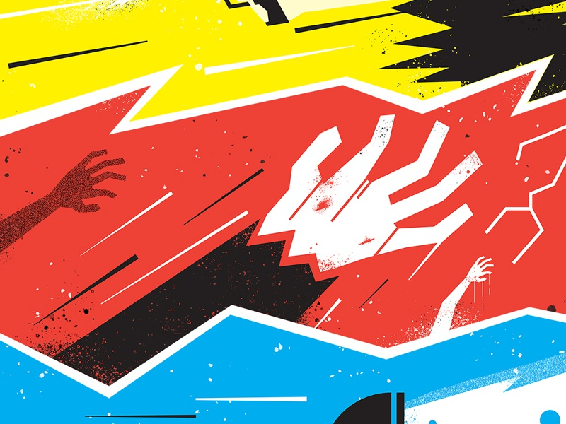 Poster zombie lightning hand poster texture geometric illustration
