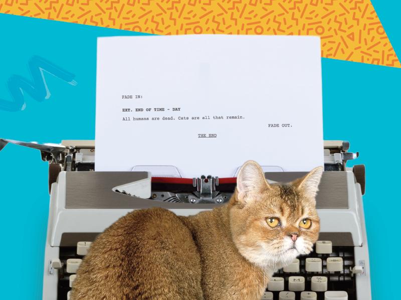 Jingles pattern 80s typewriter cat