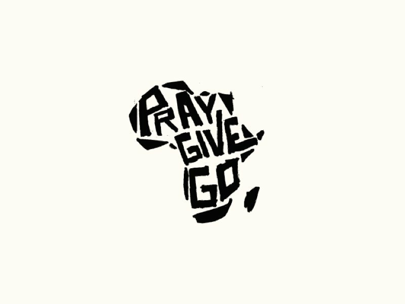 Pray Give Go language logomark marker pen go give pray africa typography texture mark illustration design branding icon logo