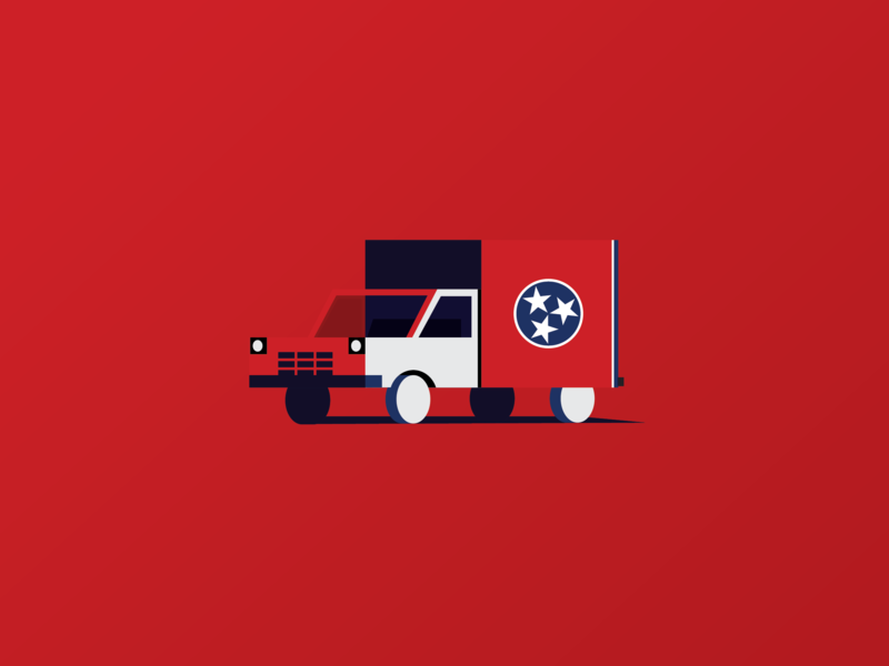 Nashville shadows skewed tiny minimal star stars red and blue blue red moving home nashville flag truck icon design vector geometric illustration