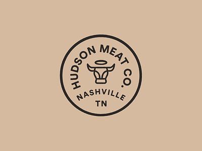 Hudson Meat Co. badge logo badge design mark icon branding texture logo