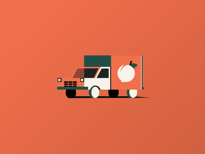 Truckin' to Creative South conference georgia peach truck orange branding drive travel creative south truck vector icon design geometric illustration