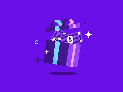 Surprise! win cash money product illustrator product illustration gift prize web app star blue branding vector design geometric illustration