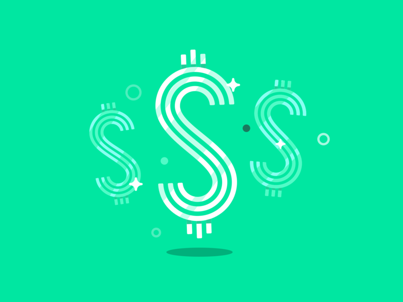 Cha-Ching! product design product illustration dollar sign sparkle money app ui star branding vector design geometric illustration
