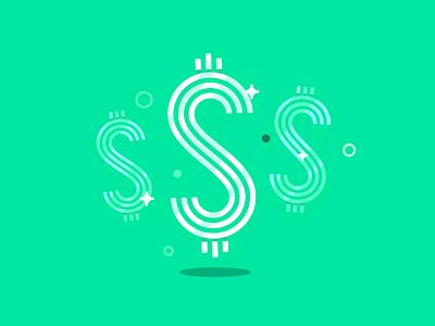Cha-Ching! product design product illustration dollar sign sparkle money app ui star branding vector design geometric illustration