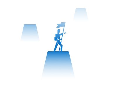 Pathfinder mountain gradient app ui blue branding geometric illustration