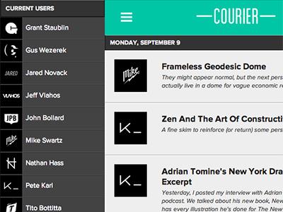 Courier link news sharing tool company web hamburger basement navigation