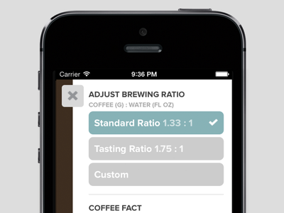 Teaser: A Web App settings options ui buttons drawer coffee brewing ratio