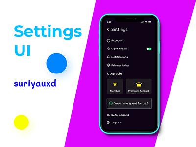Settings Mobile UI Design userexperience visualdesign settingsui uidesign webdesign appdesign ui design dailyui ux figma uiux