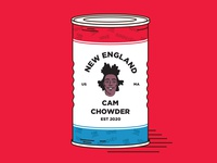 Cam Chowder patriots cam newton soup can vector illustration