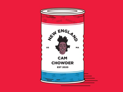 Cam Chowder patriots cam newton soup can vector illustration