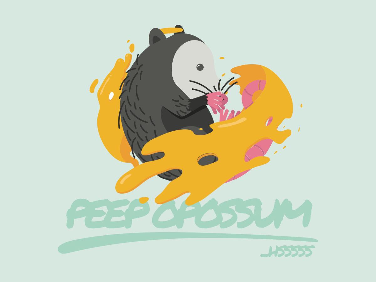Peep Opossum illustration