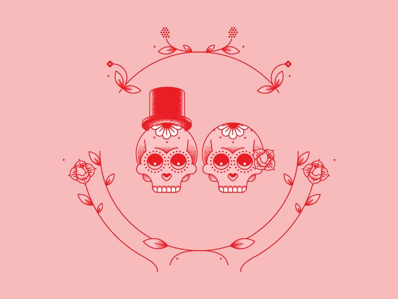 Skull Wedding vector illustration