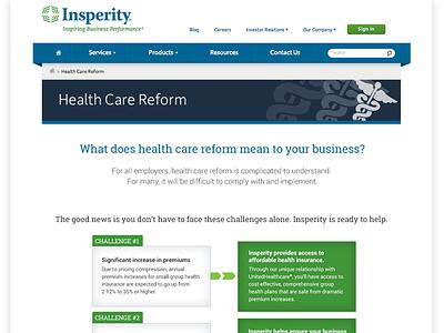 Health Care Reform web design