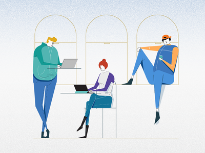Co Working Space lines busy characters office team working illustration