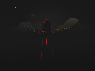 A Water Tower  night simple lines watertower illustration