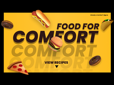 Comfort food : Recpie website beautiful black yellow comfort dribbbleweeklywarmup food design website figma ui minimal