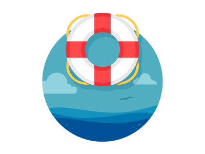 Lifesaver flat illustration ocean lifesaver