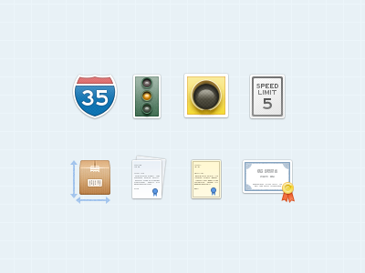 Auto Related Icons  icons illustration auto traffic warranty cargo