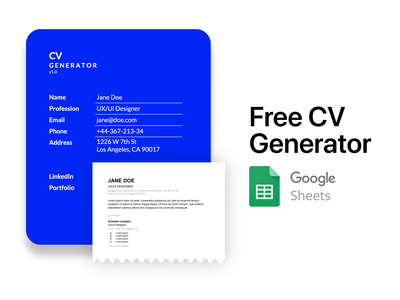 Free CV Generator with Google Spreadsheets jobseeker job cv generator freebee freebie free resume cv resume spreadsheet google generator cv