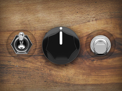 Audio Knobs and Switches wood metallic switches switch button button design iphone app sound ui design music 3d cinema 4d cinema4d