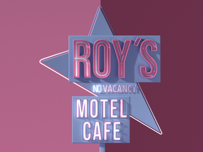 Roy's Motel Road Sign design 3d cinema 4d cinema4d typeface typo retro light pastel motel roys road signs road sign
